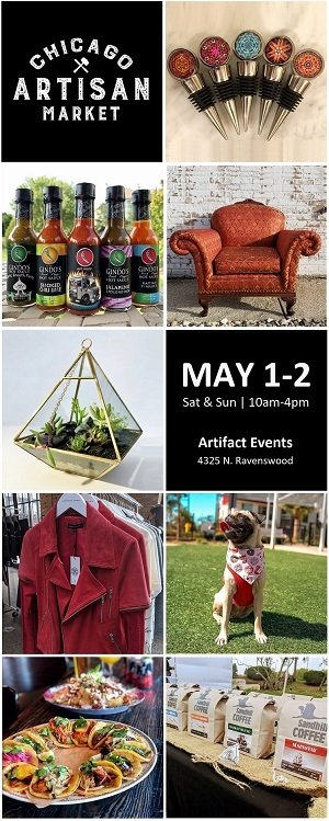 Chicago Artisan Market in Ravenswood - Sat-Sun, May 1-2, 2021 - 300 x 749